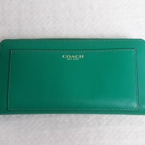 Coach Green Accordion Zip Around Wallet
